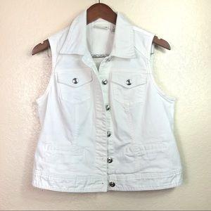 Chicos Platinum White Denim Jean Vest 1 8 10 M